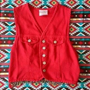 ♥️cute adjustable back seed bead embellished vest!